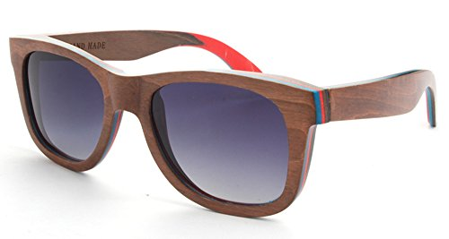 5 ALL Damen Herren Vintage Wayfarer Stil Holz Polarisierte Sonnenbrille Fashion Casual Brille Sunglasses (Kaffee)