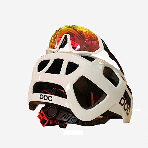 LKJCZ Cascos De Bicicleta, con Funda De Casco Neumático Extraíble CE Certificado Ciclo Ajustable Bicicleta Casco Distribución Gafas De Bicicleta (Gafas De Color Al Azar),Black