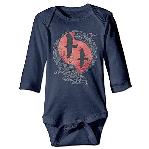 WYICPLO Unisex Toddler Bodysuits Hugin and Munin Baby Babysuit Long Sleeve Jumpsuit Sunsuit Outfit Navy