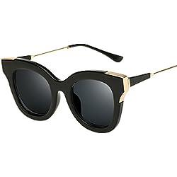 ASCHOEN Retro Vintage Sonnenbrille polarisiert für Frauen und Männer Unisex Schwarz