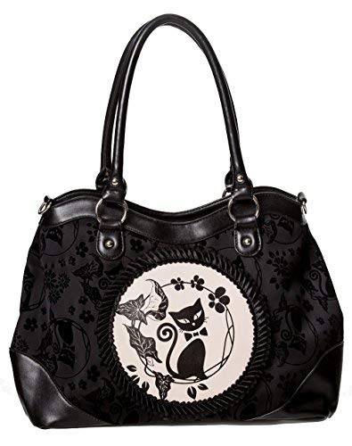 Banned Apparel Phoenix CHAT CHATON floral floqué rockabilly Sac à main - Noir, Taille Unique