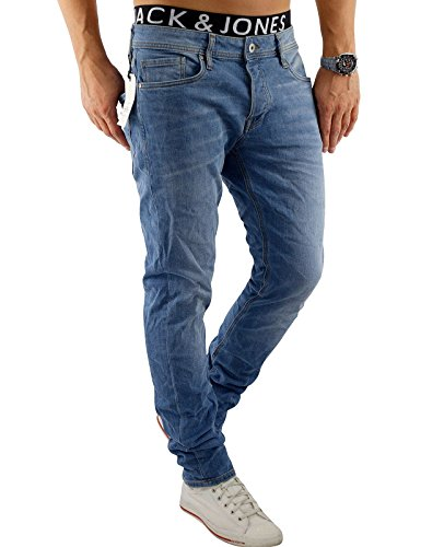 JACK & JONES Herren Jeans jjiTIM 085 Used Look Blue Denim Elasthan Slim Fit (34W / 32L, Blau (Blue Denim Fit:SLIM jjiTIM 078))