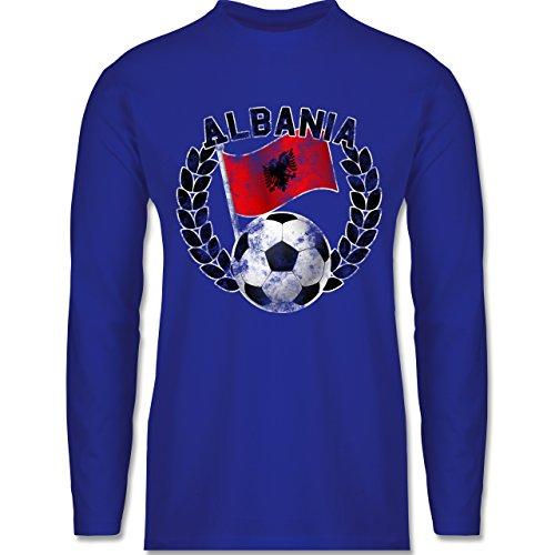 EM 2016 - Frankreich - Albania Flagge & Fußball Vintage - Longsleeve / langärmeliges T-Shirt für Herren Royalblau