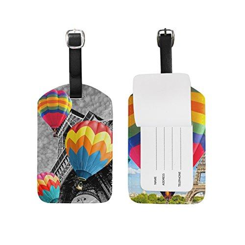 uftballon Gepäck Tags, 2Stück PU-Leder Visitenkartenhalter Travel ID Tasche Tag–Colorful (Ballon Tower)