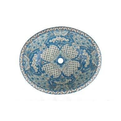 Lorena - Türkis Mexikanisches Ovales Waschbecken | Oval Einbauwaschbecken mit Rand | Keramik Talavera Einbau/Unterbau Waschbecken aus Mexiko