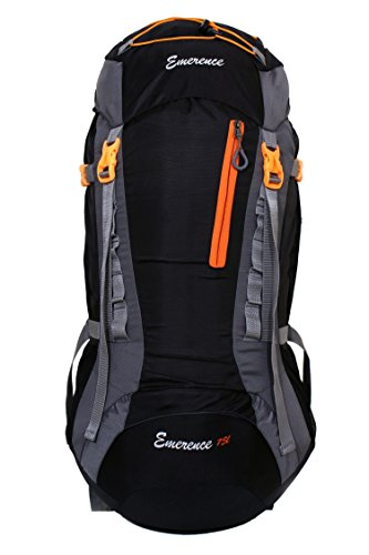 Emerence 1021 Rucksack, Hiking Backpack 75Lts (Black) With Rain Cover and Laptop Compartment