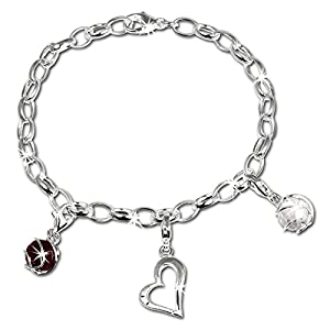 SilberDream Charms Armband Set – Liebe – 925 Sterling Silber Charm Armband und Anhänger – FCA300