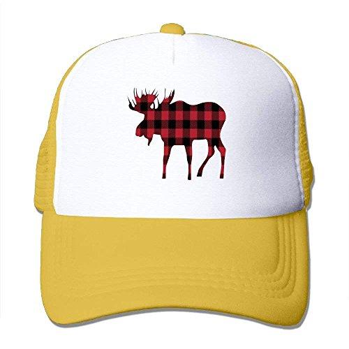 Miedhki Buffalo Plaid Moose Lumberjack Style Mesh Trucker Caps/Hats Adjustable for Unisex C10 - Buffalo Fitted T-shirt