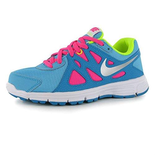 Nike Mädchen Revolution 2 GS Laufschuhe, Blau/Versilbert/Rosa/Grün (Clrwtr/Mtllc Slvr-Bl Lgn-VLT) 38 1/2 EU - Mädchen 2 Revolution Nike