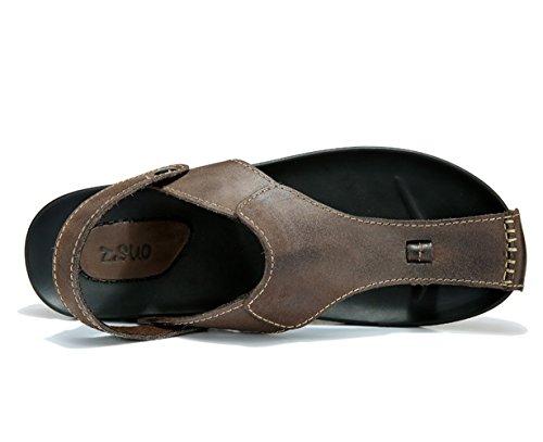 Insun Herren Zehentrenner Slingback Normal Flach Sandalen Flip Flops Sandalen Braun