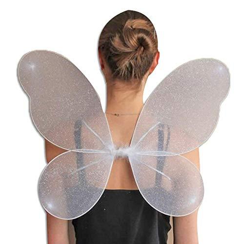 Hi Fashionz Womens Fancy Neuheit Fairy Wings Damen Bumblee Bee Hen Party Supplies Zubeh�r (wei�e Net Fairy Wings Silver Glitter) ()