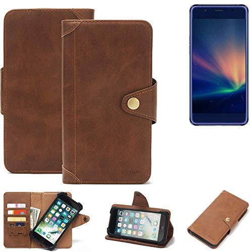 K-S-Trade® Handy Hülle Für Hisense A2 Pro Schutzhülle Walletcase Bookstyle Tasche Handyhülle Schutz Case Handytasche Wallet Flipcase Cover PU Braun (1x)