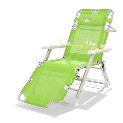 Sofa Stuhl Liegestuhl Campingstuhl Mit Liegefunktion Sonnenliege Mit Kopfpolster Strandliege Klappbar Für Camping Freizeit Garten Strand (Farbe : Green)