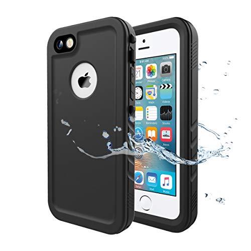 Wigoo Wasserdicht Hülle für iPhone SE, Schutzhülle Ganzkörper Rugged Case [Wasserdicht] [Staubdicht] [Stoßfest] mit eingebautem Displayschutzfolie für iPhone SE/iPhone 5/ 5S (Schwarz) (Foto Wasserdichte Case 5s Iphone)
