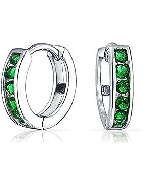 Bling Jewelry Farbe Smaragd CZ Mai Geburtsstein Huggie Creolen 925er Silber