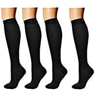 4 pair Compression Socks for Women & Men by Best For Running, Medical, Athletic, Edema, Diabetic, Varicose Veins, Sports, Crossfit, Flight, Travel - Suits Nurses, Maternity Pregnancy