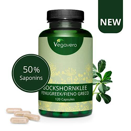 Vegavero® Bockshornklee Kapseln | 120 Kapseln | 250 mg Saponine | Hochdosiert | Aktivierter Bockshornklee Kapseln (Fenugreek) | Vegan | OHNE Zusätze | Laborgeprüft | produziert in DE