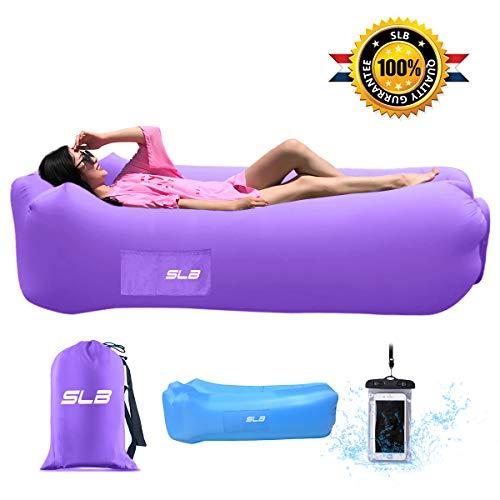 SLB Luftsofa mit integriertem Nackenkissen, Air Sofa Lounger aufblasbar wasserdicht Luft Couch Liege für Strand Freibad Camping Park Garten Ausflüge - Belastbarkeit bis zu 200KG (Purple)