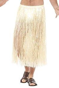 Smiffys Falda de Paja Hawaiana, Natural, con Cierre con Velcro y Cintura Ajustable