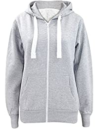 Ladies Plain Zip Up Hoodie Womens Fleece Hooded Top Long Sleeves Front  Pockets Soft Stretchable Comfortable Plus Sizes Small to… 380008460
