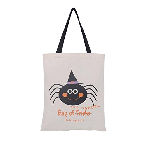 Halloween Candy Tasche, C 'est behandeln oder Trick Tote Casual Beach Staubbeutel Give me Eat Einkaufstasche Handtasche, canvas, F, 14.1''×17.3'' (Tote Handtasche Schokolade Große)