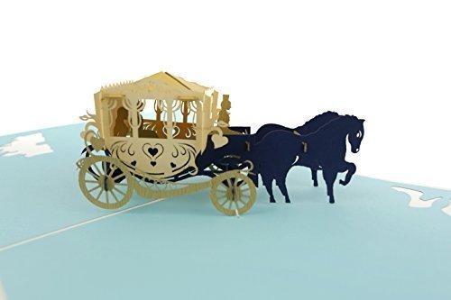 PopLife Cards Märchen Popup-Grußkarte der Wagen 3d für alle Gelegenheiten Prinzessin Thema, Glaspantoffel, königliches Märchenbuch faltet sich flach für das Versenden von Geburtstagsfeiern, danke, Ja