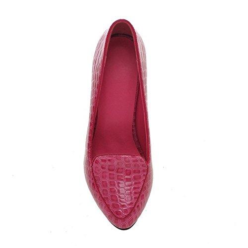 COOLCEPT Femmes Mode Slip On Court Shoes Bout Ferme Escarpins Talon Aiguille Chaussures Rose Rouge