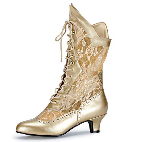 Higher-Heels Funtasma Kostüm-Stiefeletten Dame-115 mattgold Gr. ()