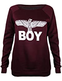 Womens New Army Boy Eagle Front Printed Ladies Long Sleeve Round Crew Neck Stretch Sweatshirt T-Shirt Top Burgundy Size 8-10