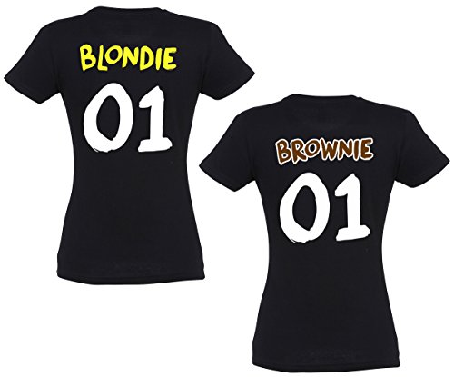 se creation bff partner t shirts blondie brownie mit wunschzahlen f r damen und m dchen. Black Bedroom Furniture Sets. Home Design Ideas