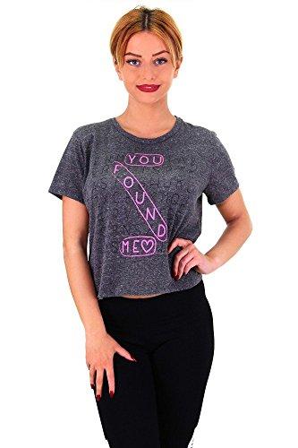 Cooles Crop Top Bauchfreie Bluse Buchstabensalat Print in verschiedenen  Farben Dunkelgrau