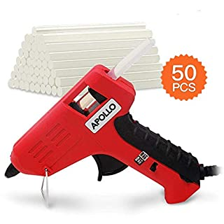 Hi-Spec 10W Compact Sized High/Low *DUAL-TEMP* Glue Gun, Fold Out Stand to Protect Surfaces, Precise Control Glue Feed Lever & 50 Piece Universal 7mm Glue Sticks for all Gluing Needs