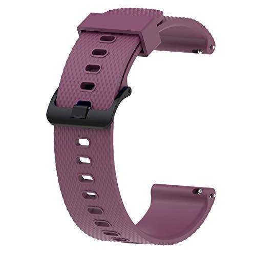 ACUTAS 20MM Silicone Rubber SportWatch Band Strap for Xiaomi Huami Amazfit *** Younth/Ticwatch 2 / Ticwatch E/Garmin Vivomove HR (Size:Large) (Purple)