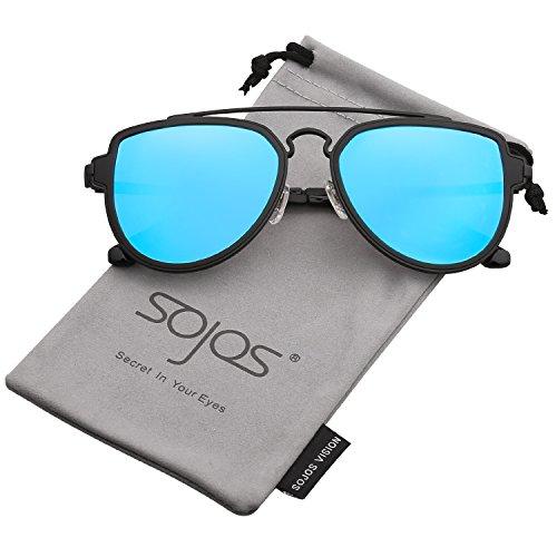 Sojos vogue retrò doppio metalloponte aviatore polarizzate occhiali da sole unisex per uomo donna sj1051 con nero telaio/blu polarizzate lente