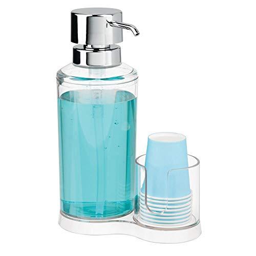 mDesign Dispensador de Enjuague bucal con portavasos - Expendedor de plástico para Enjuague con 8 Vasos pequeños - Prácticos Accesorios para baño para la higiene Oral - Transparente y Plateado