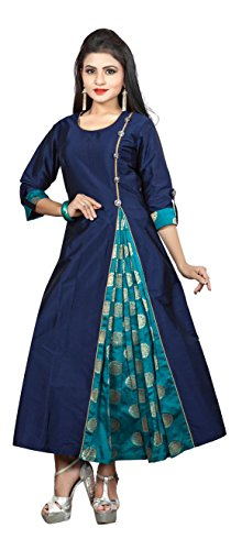 Smartshop Women's Taffeta Silk A-Line Long Kurtis (Xx-Large, Blue)