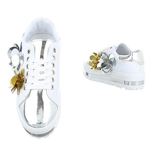 Ital-Design Sneakers Low Damenschuhe Sneakers Low Sneakers Schnürsenkel Freizeitschuhe Weiß Silber FC-R101