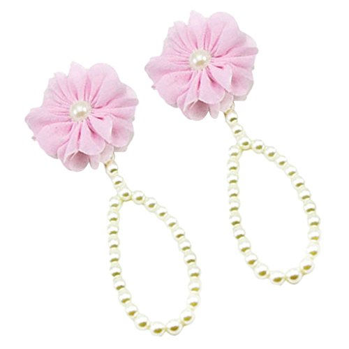 Magideal Baby Pearl Barefoot Toddler Foot Flower Beach Sandals Anklet Chain Pink