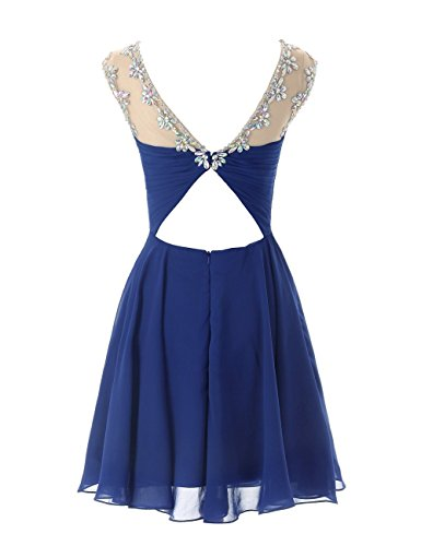 MicBridal® Abito corto da donna, da cocktail o per feste, con cut-out sulla schiena Purple