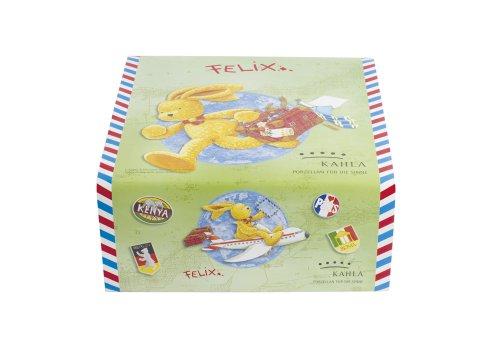 Kahla 32D264A11389VN Kids Hase Felix | Porzellan Kindergeschirr-Set | Kinder-Set bunt rund 3 teilig Set Tasse Suppenteller Teller Jungs und Mädchen