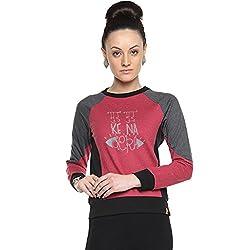 Campus Sutra Maroon Womens Combination Printed Sweatshirt (AW15_HTRI_W_MUD_MA_M)
