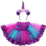 FENICAL Disfraz de Unicornio para Niñas Diadema Unicornio Floral con Oreja y Falda Tutú de Arco Iris Disfraz para Fiesta Púrpura Tamaño L