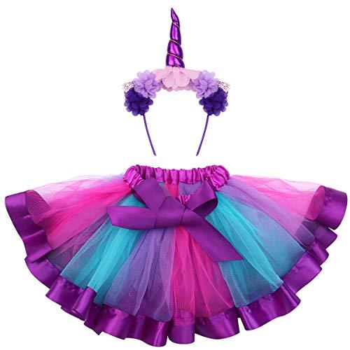 üme Kinder Einhorn Horn Strinband mit Ohren Blumen Regenbogen Tutu Rock Mädchen für Karneval Größe S (Lila) ()