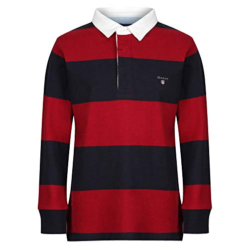 GANT Boys Rugby Polo T-Shirt with Contrasting Stripes Kids' Burgundy in Size 9-10 Years (134-140 cm)