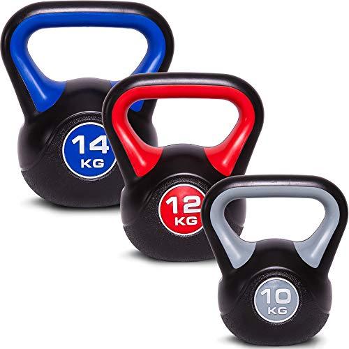 C.P.Sports Kettlebell Kugelhantel Vinyl Handgewicht Gymnastik, Kettle Bell, Kettlebells, Schwunghantel 2kg 3kg 4kg 5kg 6kg 8kg 10kg 12kg 14kg 16kg 18kg 20kg (Set-10+12+14 KG)