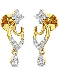 Joyalukkas 18k (750) Yellow Gold and Diamond Stud Earrings for Girls