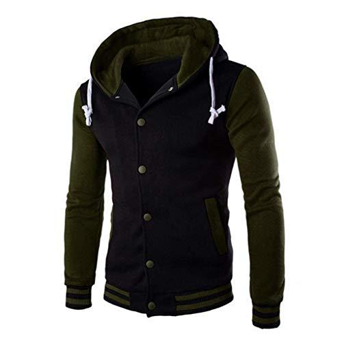 Xmiral Herren Mantel Jacke Winter Slim Kapuzenpullover Rippe Ärmel Patchwork Warm Outwear Sweater(EU 48,Armee Grün)