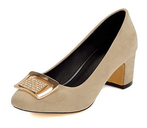 AgooLar Femme Dépolissement Carré à Talon Correct Tire Mosaïque Chaussures Légeres Beige