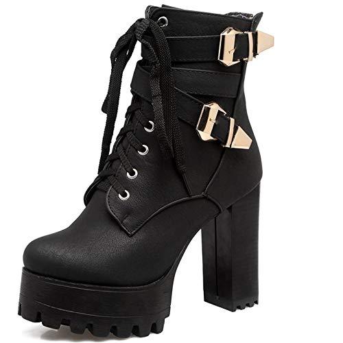 DoraTasia Damenmode Chunky High Heel Schnalle Lace up Platform Stiefeletten -