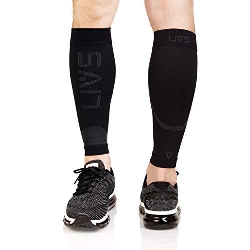 Livs fasce di compressione per polpacci, nero, anti odore, calze a compressione graduata per uomini e donne, sport, voli lunghi, running, fitness, gambe stanche, stimolano la rigenerazione muscolare